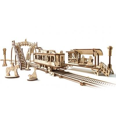 Ugears-12057 Puzzle 3D en Bois - Tram Line