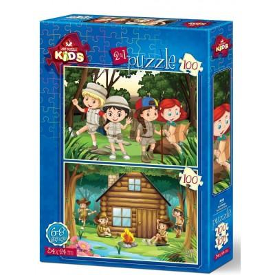 Art-Puzzle-4519 2 Puzzles - Le Camp de Scout