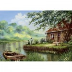 Art-Puzzle-5071 Evening Fishing Rod