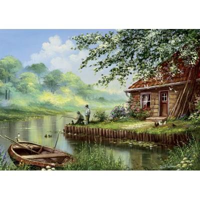 Art-Puzzle-5071 Evening Fishing Rod