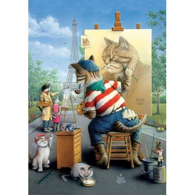 Art-Puzzle-5087 Painter Cat