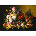 Art-by-Bluebird-Puzzle-60030 Severin Roesen - Still Life, Flowers and Fruit, 1855