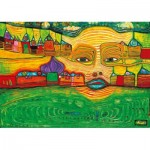 Art-by-Bluebird-Puzzle-60063 Hundertwasser - Irinaland over the Balkans, 1969