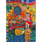 Art-by-Bluebird-Puzzle-60064 Hundertwasser - The 30 Days Fax Painting, 1996
