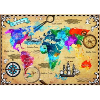 Bluebird-Puzzle-70001 Colorful World Map