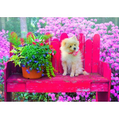 Bluebird-Puzzle-70042 Puppy in the Colorful Garden