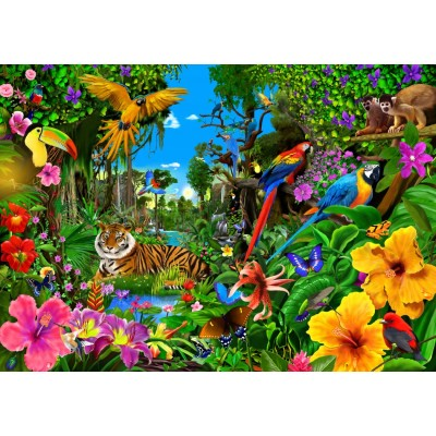 Bluebird-Puzzle-70150 Jungle Sunrise