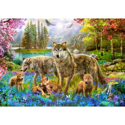 Bluebird-Puzzle-70195 Spring Wolf Family