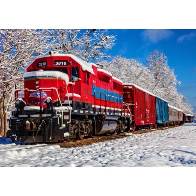 Bluebird-Puzzle-70282 Red Train In The Snow
