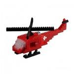 Brixies-58716 Nano Puzzle 3D - Hélicoptère Suisse (Level 3)