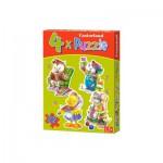 Castorland-04102 4 Puzzles - Animaux en activités ludiques