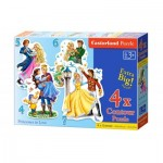 Castorland-04256 4 Puzzles - Princesses in Love