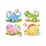 Castorland-04386 4 Puzzles - Bébés Dinosaures