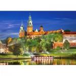 Castorland-103027 Pologne, Cracovie : Château Wawel la Nuit