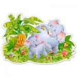 Castorland-120116 Pièces XXL - Puzzle Forme - Jeux d'Eléphants