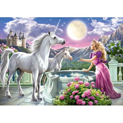 Castorland-13098 La Princesse et ses Licornes