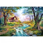 Castorland-151547 Cottage, Couleurs d'Automne
