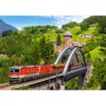 Castorland-52462 Train on the Bridge