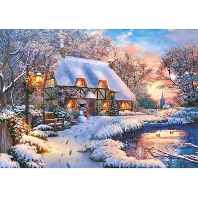 Castorland-53278 Winter Cottage
