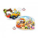 Castorland-B-020065 2 Puzzles Forme - Véhicules et Chantier de Construction