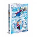 Clementoni-07030 2 Puzzles - La Reine des Neiges