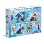 Clementoni-07614 4 Puzzles - La Reine des Neiges