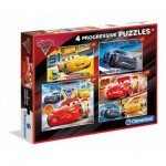 Clementoni-07714 4 Puzzles - Cars