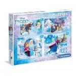 Clementoni-07723 4 Puzzles - La Reine des Neiges