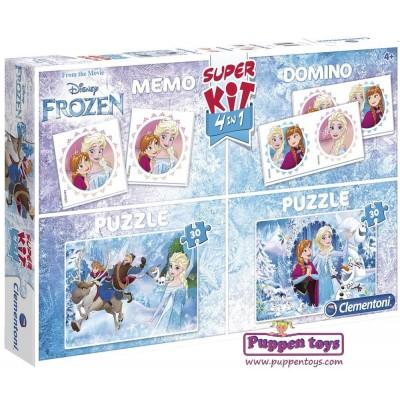 Clementoni-08216 Super Kit 4 in 1 - La Reine des Neiges - 2 Puzzles + Memo + Domino