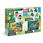 Clementoni-08218 Super Kit 4 in 1 - Ben 10 - 2 Puzzles + Memo + Domino
