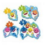 Clementoni-20828 Baby Shark - 4 Puzzles Evolutifs (3/6/9/12 Pièces)