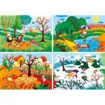 Clementoni-21408 Les 4 Saisons - 4 Puzzles Evolutifs (20/60/100/180 Pièces)