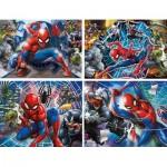 Clementoni-21410 Spiderman - 4 Puzzles Evolutifs (20/60/100/180 Pièces)