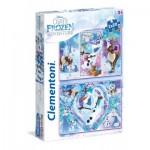 Clementoni-24752 2 Puzzles - La Reine des Neiges