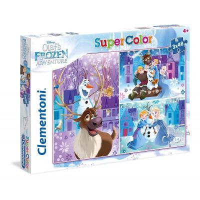 Clementoni-25228 3 Puzzles - La Reine des Neiges