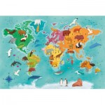 Clementoni-29063 Exploring Maps : Monde - Animaux