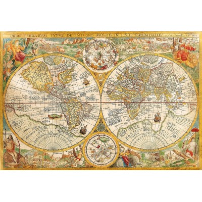 Clementoni-32557 Vieille Carte du Monde