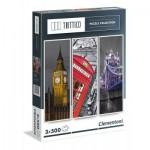Clementoni-39306 3 Puzzles - Londres