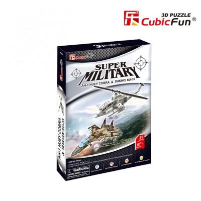 Cubic-Fun-P628H Puzzle 3D - AH-1 Huey Cobra & Sukhoi SU-35 (Difficulté : 4/8)