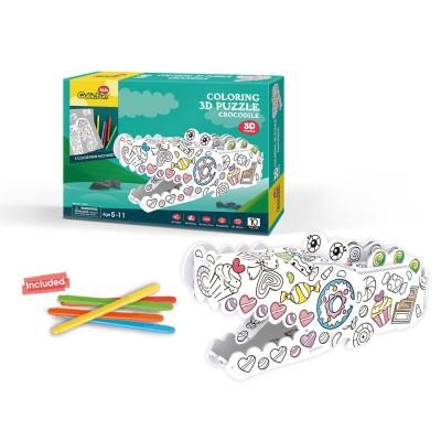 Cubic-Fun-P697h Puzzle 3D - Crocodile à Colorier
