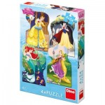 Dino-333185 4 Puzzles - Disney Princess