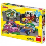Dino-333208 4 Puzzles - Mickey and the Roadster Racers