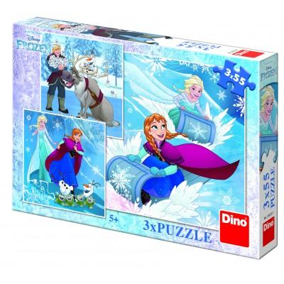 Dino-33523 3 Puzzles - La Reine des Neiges