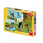 Dino-33525 3 Puzzles - La Petite Taupe