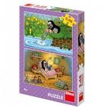Dino-38155 2 Puzzles - La Petite Taupe