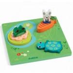 Djeco-01047 Puzzle en Bois - 1,2,3 Froggy