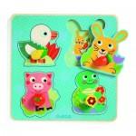 Djeco-01048 Puzzle en Bois - Croc-carrot