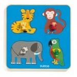 Djeco-01062 Puzzle Cadre en Bois - Family Jungle
