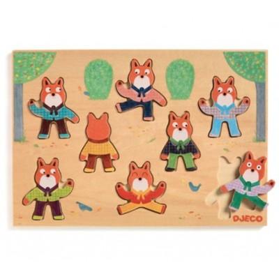Djeco-01253 Puzzle en Bois - Foxymatch