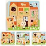 Djeco-01480 Puzzle 3 niveaux : Cottage des lapins